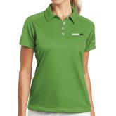 Ladies Nike Dri Fit Vibrant Green Pebble Texture Sport Shirt-Wordmark