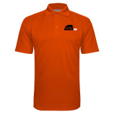 Orange Textured Saddle Shoulder Polo-Primary Mark
