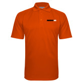 Orange Textured Saddle Shoulder Polo-Wordmark