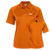 Ladies Orange Textured Saddle Shoulder Polo-Wordmark