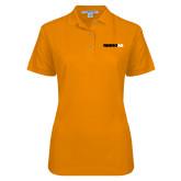 Ladies Easycare Orange Pique Polo-Wordmark