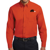 Orange Twill Button Down Long Sleeve-Primary Mark