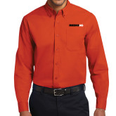 Orange Twill Button Down Long Sleeve-Wordmark