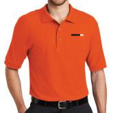 Orange Easycare Pique Polo-Wordmark