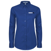 Ladies Royal Twill Button Down Long Sleeve-Wordmark