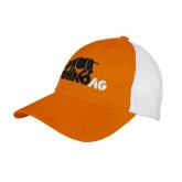 Orange/White Mesh Back Unstructured Low Profile Hat-Primary Mark