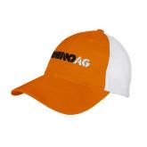 Orange/White Mesh Back Unstructured Low Profile Hat-Wordmark