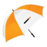 62 Inch Orange/White Vented Umbrella-Wordmark