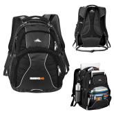 High Sierra Swerve Black Compu Backpack-Wordmark