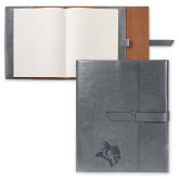 Fabrizio Grey Portfolio w/Loop Closure-Owl Head Engraved