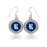 Crystal Studded Round Pendant Silver Dangle Earrings-R