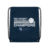 Navy Drawstring Backpack-2018 Rice Regular Season Volleyball Champions
