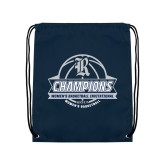 Navy Drawstring Backpack-Womens Basketball Invitational Champions Ball