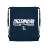 Navy Drawstring Backpack-Womens Basketball Invitational Champions Stencil