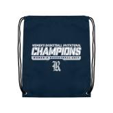 Nylon Navy Drawstring Backpack-Womens Basketball Invitational Champions Stencil