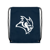 Navy Drawstring Backpack-Owl Head