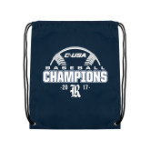 Navy Drawstring Backpack-Conference USA Baseball Champions