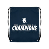 Navy Drawstring Backpack-2017 Womens Soccer Champions