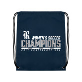 Navy Drawstring Backpack-2017 Womens Soccer Champions - Bar Design