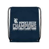 Navy Drawstring Backpack-2017 Womens Soccer Champions - Bar Design