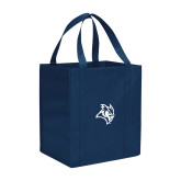 Non Woven Navy Grocery Tote-Owl Head
