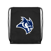 Black Drawstring Backpack-Owl Head