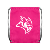 Pink Drawstring Backpack-Owl Head