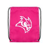 Pink Drawstring Backpack-Owl Head