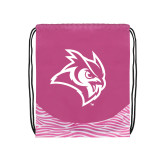 Nylon Zebra Pink/White Patterned Drawstring Backpack-Owl Head