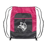 Nylon Pink Raspberry/Deep Smoke Pocket Drawstring Backpack-Owl Head