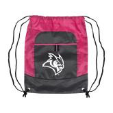 Nylon Pink Raspberry/Deep Smoke Pocket Drawstring Backpack-Owl Head