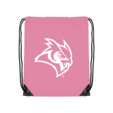 Light Pink Drawstring Backpack-Owl Head