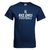 Navy T Shirt-Stacked Type Football Design