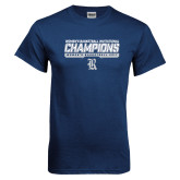 Navy T Shirt-Womens Basketball Invitational Champions Stencil
