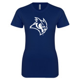 Next Level Ladies SoftStyle Junior Fitted Navy Tee-Owl Head