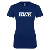Next Level Ladies SoftStyle Junior Fitted Navy Tee-Rice
