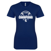 Next Level Ladies SoftStyle Junior Fitted Navy Tee-Conference USA Baseball Champions