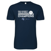 Next Level SoftStyle Navy T Shirt-2018 Rice Regular Season Volleyball Champions
