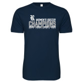 Next Level SoftStyle Navy T Shirt-2017 Womens Soccer Champions - Bar Design