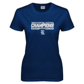 Ladies Navy T Shirt-Womens Basketball Invitational Champions Stencil