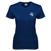 Ladies Navy T Shirt-Owl Head