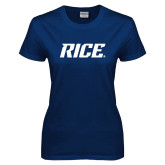 Ladies Navy T Shirt-Rice