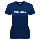 Ladies Navy T Shirt-Rice Owls