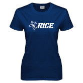 Ladies Navy T Shirt-Owl Head Rice
