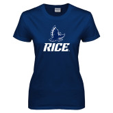 Ladies Navy T Shirt-Full Owl Rice Stacked