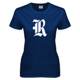 Ladies Navy T Shirt-R Distressed