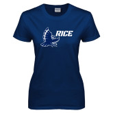 Ladies Navy T Shirt-Full Owl Rice