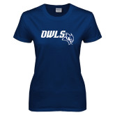 Ladies Navy T Shirt-Owls With Owl Head