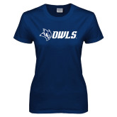 Ladies Navy T Shirt-Owl Head Owls