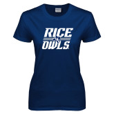 Ladies Navy T Shirt-Rice Owls Stacked